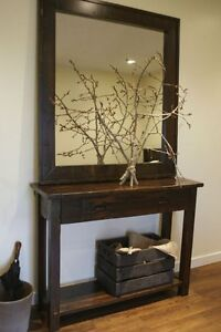 Rustic Entryway Set Console and Mirror - All Solid Wood - by LIKEN Woodworks