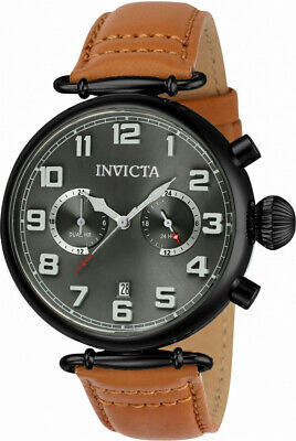 Invicta Aviator 22983 Men's Round Gray Analog 12 / 24 / Dual Hour Watch