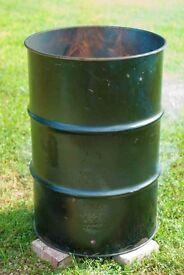 Oil drum, fire bin, garden incinerator. £15 each
