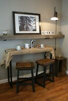 Counter Height Wood & Iron Table & Stool, choice of colour-LIKEN