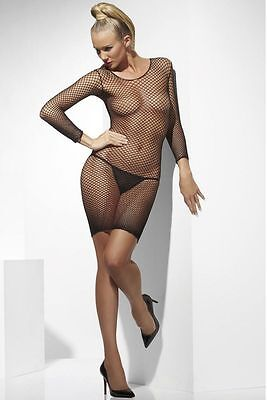 Womens Lattice Fishnet Dress Fish Net Fancy Dress Black Costume Sexy Adult NEW](Womens Fish Costume)