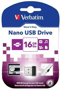 Verbatim Store 'n' Stay Nano 16GB USB 2.0 Flash Stick Pen Memory Drive - Black