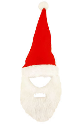 Rot Santa Hut mit Bart - Filz Maskenkostüm - Vater Weihnachten Outfits