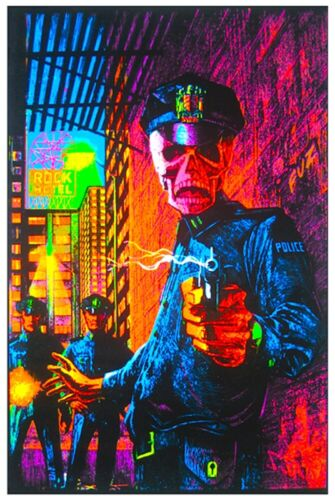 IN THE NAME OF THE LAW - BLACKLIGHT POSTER - 23X35 FLOCKED SKELETON 53340