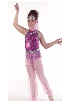 Raspberry Ice Dance Costume Leotard with Genie Pants and Headpiece Child 6x7](Genie Headpiece)