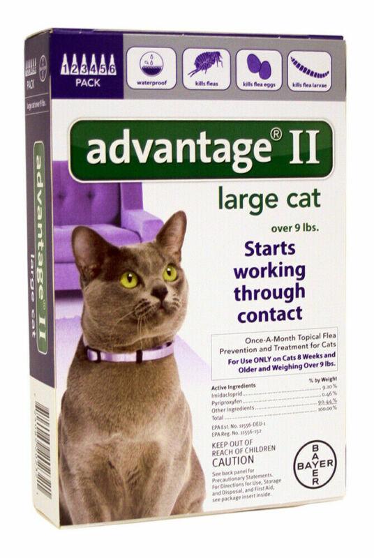 Advantage II Cat Purple | 9+ lbs | 6 doses | Repels & Kills Fleas,Ticks++