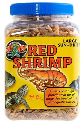 Zoo Med Sun Dried Red Shrimp High Protein Treat Rich Food Large Turtles 2.5 oz