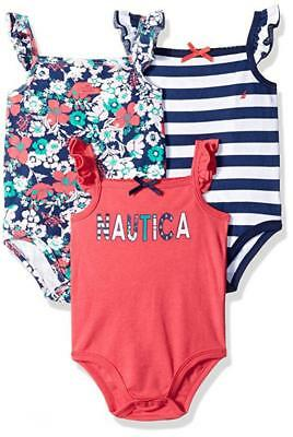Nautica Infant Girls 3pc Sleeveless Bodysuits Coral & Navy Size 0/3M 3/6M 6/9M