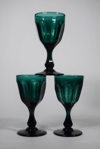 3 Antique English Green Cut Panel Wine Glasses, Circa 1860