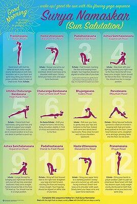 Yoga Sun Salutation   Chart Poster 24X36   Exercise Fitness 10955