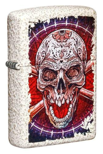 Zippo Windproof Lighter With Sugar Skull and Crossbones, 49410, New In Box