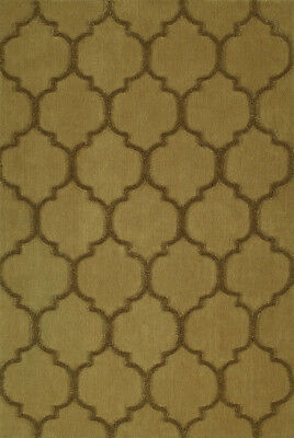 (Gold Semi-Circles Curves Angled Linked Contemporary Area Rug Geometric DK2)