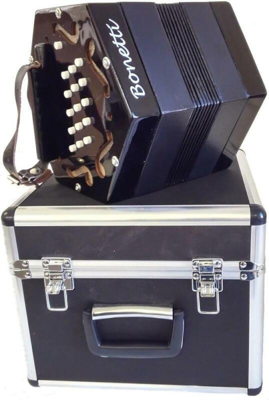 Bonetti 30 Button Black Concertina Accordion w/Case