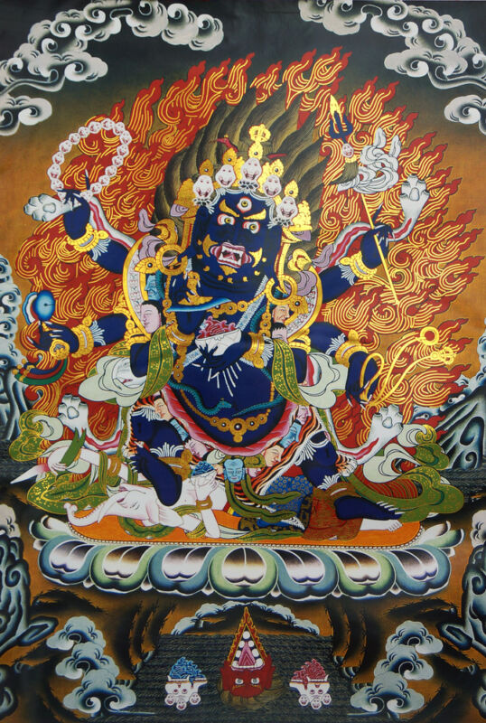 """SIX-HANDS MAHAKALA!48"""" BLESSED BROCADED GOLDEN WOOD SCROLL TIBETAN THANGKA  ="""