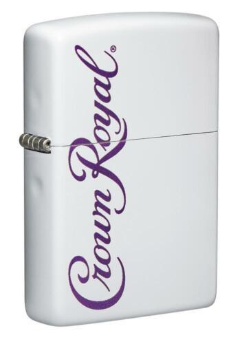 Zippo White Matte Windproof Lighter, Crown Royal Whiskey Logo, 49459, NIB