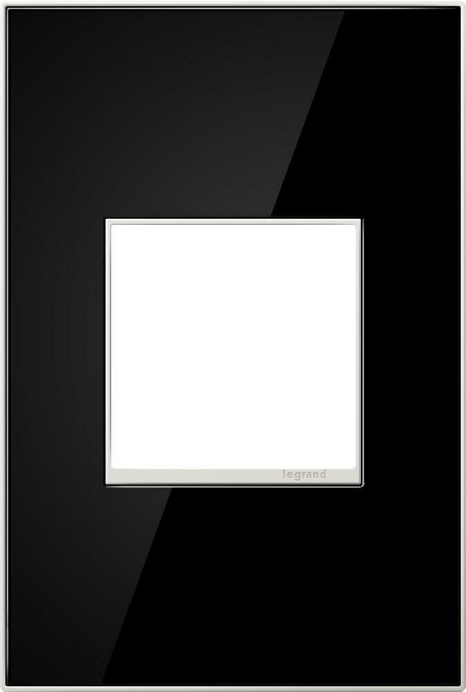 NEW Legrand Adorne Mirror Black 1-Gang Metal Wall Plate AWM1