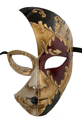 Mask Fancy Dress Venetian Luna Day Night Black -1855 V0