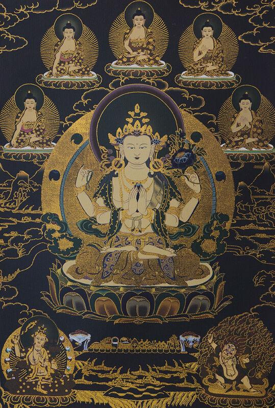 "32""BROCADED SCROLL TIBET THANGKA: VAJRAPANI MANJUSHRI CHENREZIG Avalokiteswara"