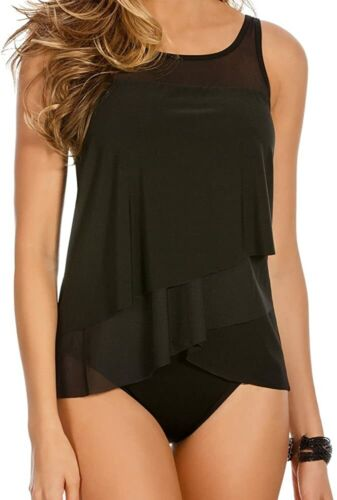 Miraclesuit Swimsuit Tankini Top Illusionists Mirage DD-Cup Black Sz 10DD
