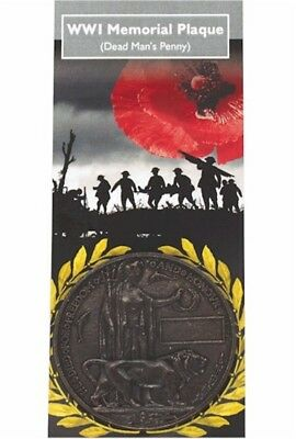 WW1 Memorial Plaque Dead Mans Penny Pewter World War 1 100 Year Anniversary Gift