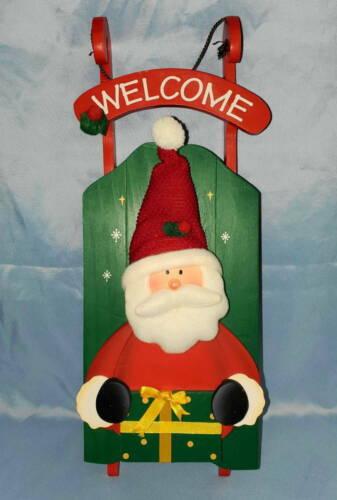 "Santa Claus WELCOME Christmas 16"" Sleigh Door Wall Hanging Plaque Sign Decor"