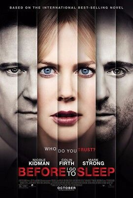 Before I Go To Sleep Movie Poster 27  X 40  Kidman Firth Strong