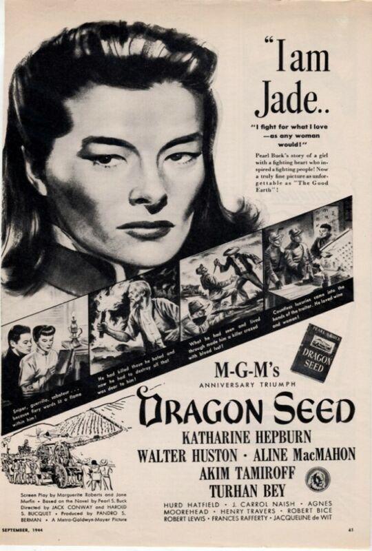 Dragon Seed 1944 Katharine Hepburn Walter Huston Movie Magazine Vintage AD