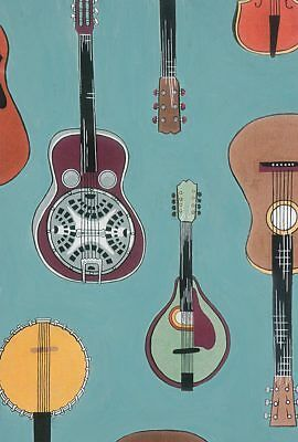 Strings, Alexander Henry Fabric, By The Yard, Jade, Music Fabric, TheFabricEdge
