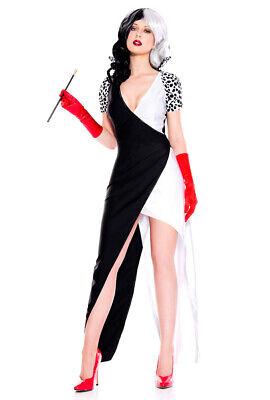 Cruella Deville Costumes (Music legs long gown Cruella Deville dalmatian)