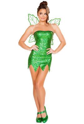 Tinkerbell Sequin Costume (Roma Mischievous Fairy Green Sequin Mini Dress Tinkerbell Costume)