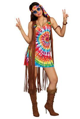 Dreamgirl womens tie dye fringe vest hippie (Tie Dye Hippie Kostüm)