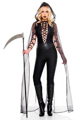 Sexy Haunting Ghost Costume Womens Black Grim Reaper Halloween Jumpsuit XS-LG