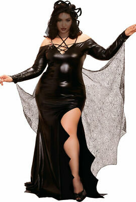 Black Widow Spider Costume (Dreamgirl Black Widow Spider Web Dress Plus Size Womens Halloween Costume)