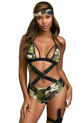 Dreamgirl Camo Cutie Knit Teddy with Headband, Toy Knife & Garter Holder Costume