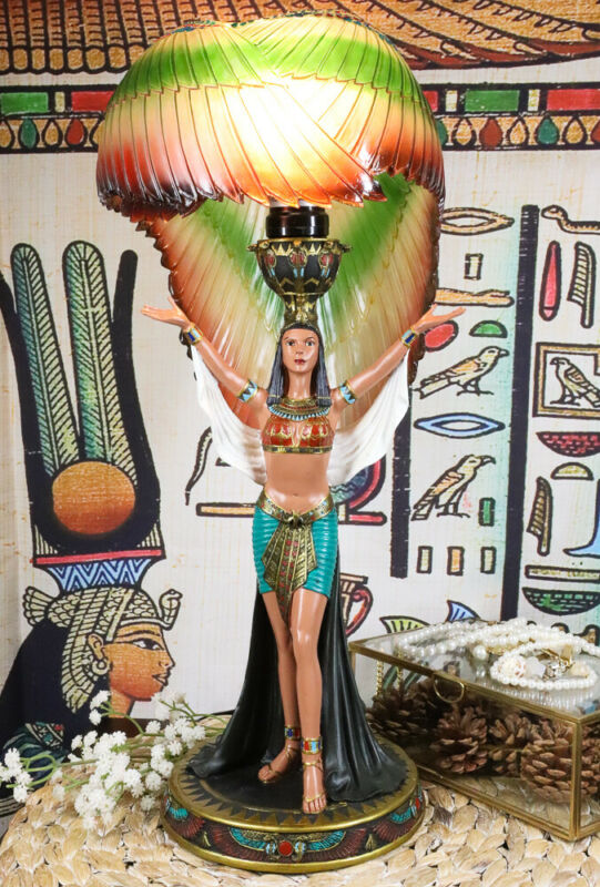 """Ebros Egyptian Goddess Isis Standing W/ Open Wings Side Table Lamp Statue 18""""H"""