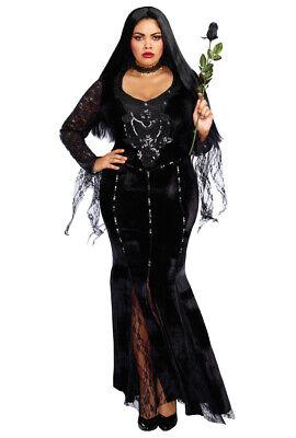 Plus size Morticia Adams Family gown costume