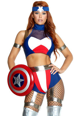 Forplay ladies Captain America booty short costume