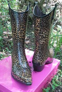 Womens-Western-Cowboy-Rodeo-Cheetah-Print-Tall-Rain-Boots-Corkys-Footwear-Size-6