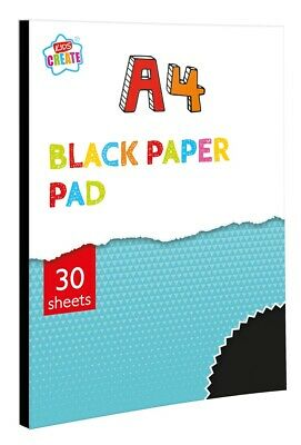 A4 Black Colour Paper Pad 30 Sheets Drawing Art Craft Halloween Scrapbook PABA