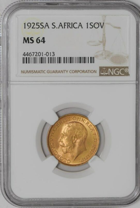 1925 South Africa Sovereign MS64 NGC   .2354 AGW  936699-10