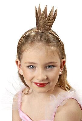 Haarreif Glitterkrönchen Gold - Hübsche Goldkrone zu Prinzessin Königin Kostüm
