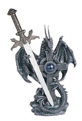 Silver Dragon with Sword and Cross Medieval Fantasy Figurine Decoration New