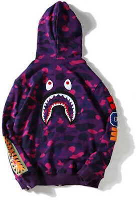 A Bathing Ape Bape Purple Camouflage Shark Unisex Teen Adult Hoodies