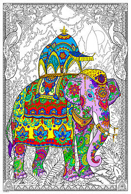 Painted Elephant - Giant Coloring Poster (32½ x 22 - Elephant Color
