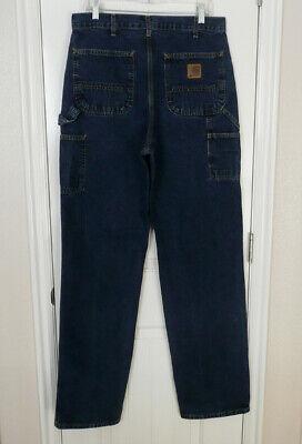 Vtg Men's Carhartt B13 HDK Sz 34x36 Heritage Dark Carpenter Blue Jeans USA Made