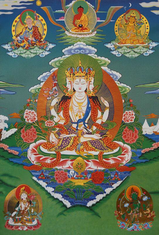 "14""BLESSED SCROLL TIBET THANGKA:  FOUR HEADS & 4 ARMS MEDICINE Avalokitesvara -"