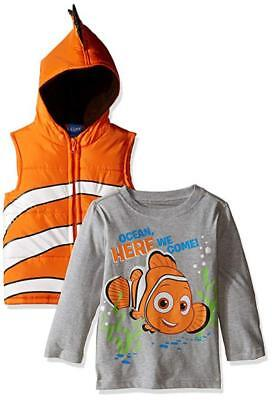 Nemo Costume 2t (Finding Nemo Toddler Boys Costume Puffer Vest & Top Set Size 2T 3T)