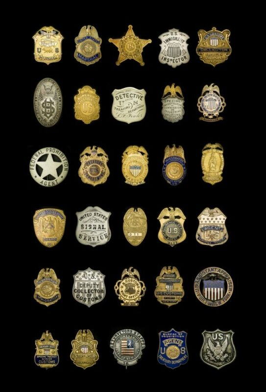 """Badge Poster """"Federal Badges"""", High Quality, 30x20"""" America"""
