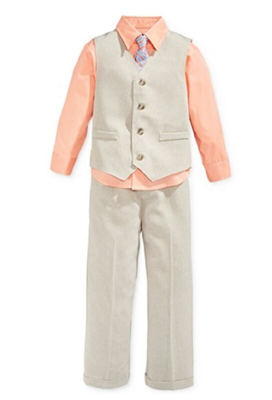 Nautica Four Piece Solid Ticking Vest, Dressy Shirt, Tie and Suiting Pants