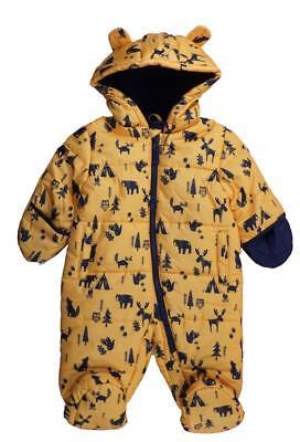 London Fog Infant Boys Yellow & Navy Blue Printed Snowsuit/Pram Size 3/6M -